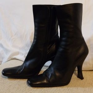 Prada mid calf black leather boots